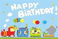 電車の中で写真漫画動物のための新しい7x5ftビニールの誕生日の背景緑の草お誕生日おめでとうバナー写真の背景ベビーシャワー新生児の男の子の女の子ポートレート写真の装飾スタジオの小道具