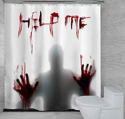 Cocior Bathroom Waterproof Shower Curtain with Metal Hooks, Halloween Horror Scary Hallowmas Bloody Vampire Zombie…