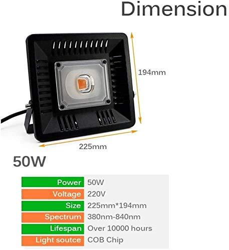 TENDERNESS Full Spectrum Pflanzenwachstums Lampe Pflanze Licht Pflanzenwachstum Glühlampe Pflanze Licht wasserdicht IP65 LED Flut-Licht-COB-LED wächst Licht-Flutlicht 50W 100W 380 840nm LED Full SPE.