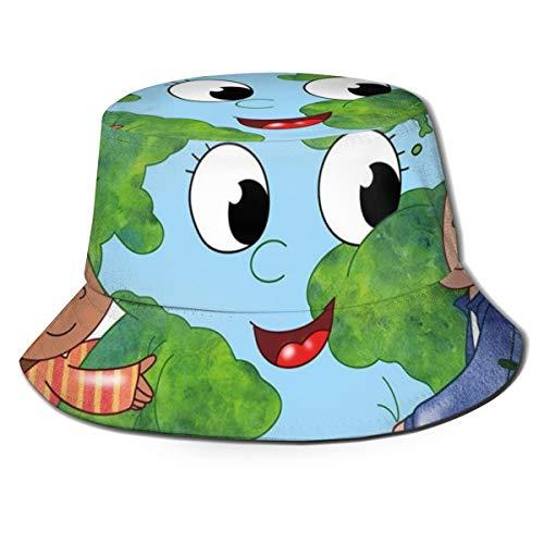 Unisex zomer visser pet, twee schattige kinderen knuffelen gelukkige planeet aarde vogel en harten Embracing in Cartoon stijl, reizen strand outdoor zon hoed