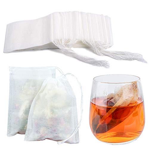 Tea Filter Bags Loose Leaf Tea Infuser 200pcs Tea Bags Safety & Natural Material, 100% Unbleached Paper/ Environmental Food Grade Drawstring Tea- Bags, 1- Cup Capacity- 3.15x 3.94