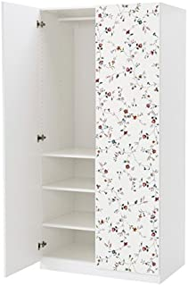 IKEA Wardrobe Soft Closing Hinge, White, Marnardal Floral Patterned, 39 3/8x23 5/8x79 1/4