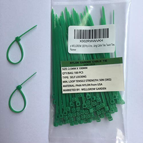 WELLGROW Garden Nylon Cable Zip Ties 4-inch x 2.5mm Dark Green Self-Locking Designed to Withstand 11 lb Loop Tensile Strength, 100 pcs per Pack.