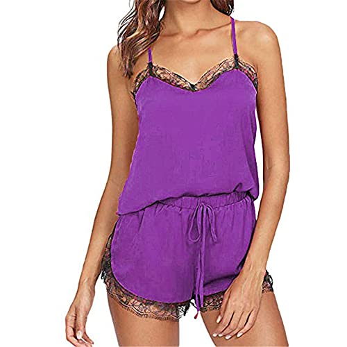 Conjunto de pijama de 2 piezas para cuello sin mangas, blusa de encaje
