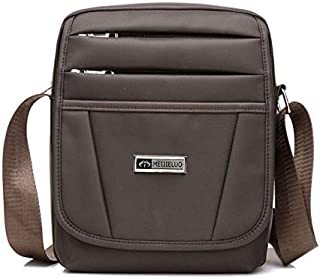 DIEBELLAU Men's Shoulder Bag High-Grade Nylon Wear-Resistant Water-Proof Business Casual Slung Shoulder Bag (Color : Coffee)