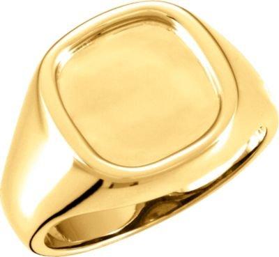 14ct oro amarillo Hombre anillo de sello de 30 mm - tamaño T 1/2 - JewelryWeb