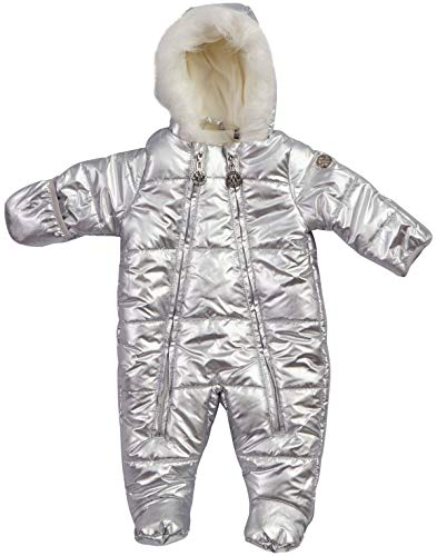 DKNY Baby Girls Cozy Puffer Fully Sherpa Fur Lined Snowsuit Pram with Fur Trim Hood, Size 3-6 Months, Silver'