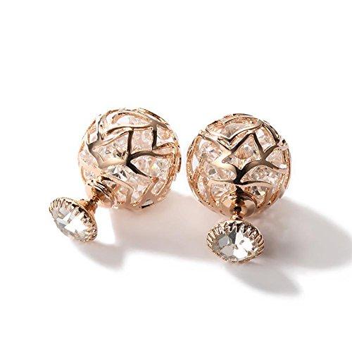 Boucles d'oreilles à deux boucles creuses plaquées or rose pour femme