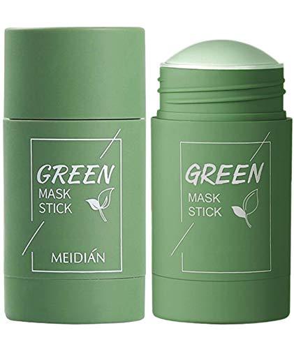 2PCS Green Mask Stick, Green Tea Purifying Clay Stick Mask, Face Moisturizes Oil Control, Deep Clean Pore, Improves Skin,for All Skin Types Men Women (Green Tea)