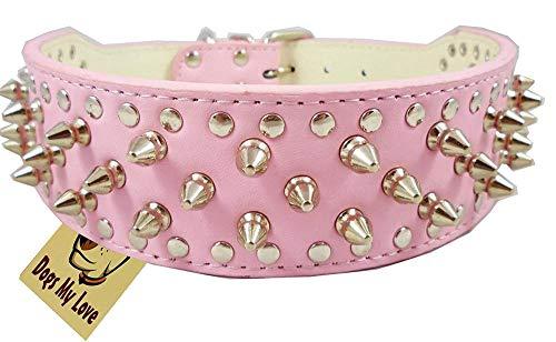 Uteruik Collar de perro de cuero rosa con tachuelas de 5 cm de ancho, 31 pinchos 52 tachuelas