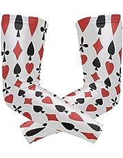 FANTAZIO Arm Sleeve Elleboog Mouwen Geweldige Poker Kaarten Patroon UV Zon Bescherming Koeling Arm Elleboog Compressie