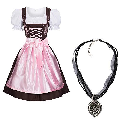 Gaudi-Leathers Dirndl Set 3 TLG.braun mit Stickerei Halskette Pink 44