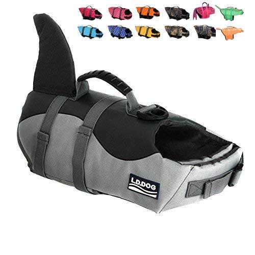 HAOCOO Dog Life Jacket Vest Saver Safety Swimsuit Preserver with Reflective Stripes/Adjustable Belt Dogs (Shark, Small)