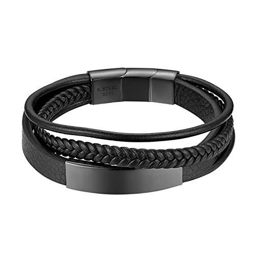 Flongo Herren Armband Männer Armreif Damen Lederarmband Personalisierbare Armbänder, Leder-Armband Kette Schwarz mit Kostenloser Wunschgravur