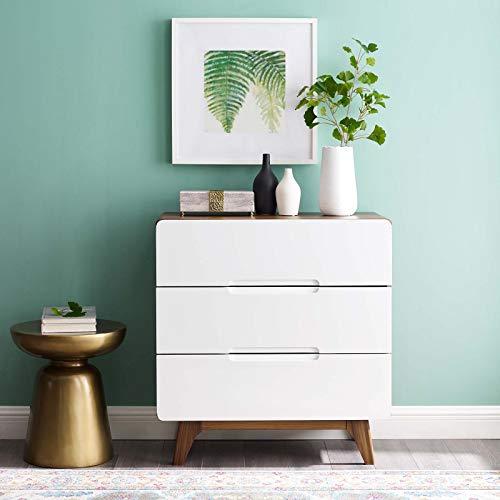 Modway Origin Contemporary Mid-Century Modern 3-Drawer Bedroom Chest in Walnut White