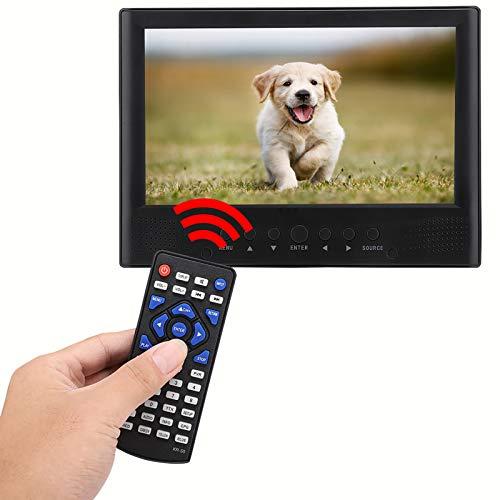 Televisión digital, reproductor de vídeo digital de 9 pulgadas con soporte y cargador de coche de 12 V, 110-220 V DVB-T/T2 TV portátil con ranura para tarjeta TF