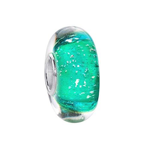 MATERIA Murano Glas Beads Anhänger Luftbläschen 925 Silber grün für Beads Armband #336