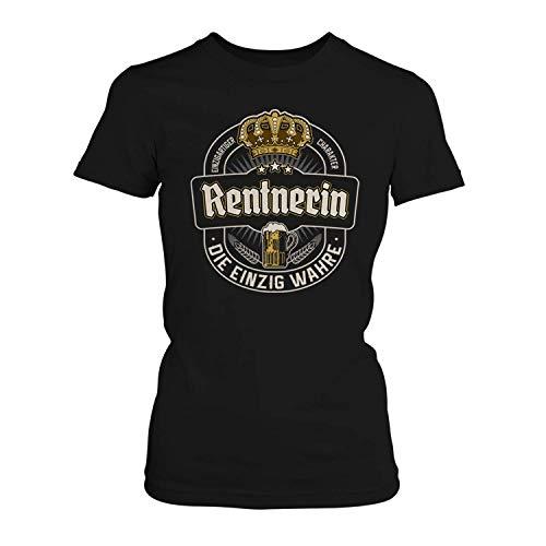 Fashionalarm Damen T-Shirt - Die einzig wahre Rentnerin | Fun Shirt Bier Etikett | Geschenk Idee Pensionärin Rente Pension Kollegin Arbeit Beruf, Farbe:schwarz;Größe:M