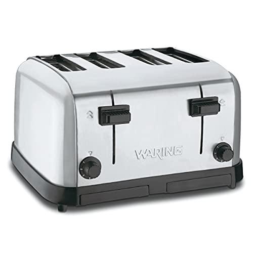 Waring Commercial WCT708 Brushed Chrome 4-Slice Commercial Medium Duty Pop-Up Toaster, 120V, 5-15 Phase Plug