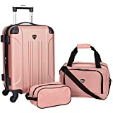 Travelers Club Sky+ Hardside Expandable Luggage Set with Spinner Wheels, Rose Gold