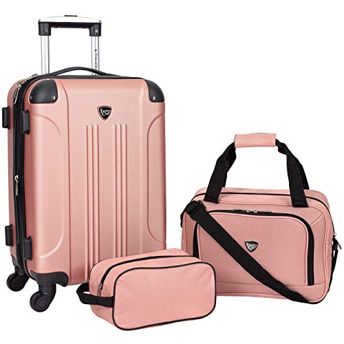 Travelers Club Sky+ Hardside Expandable Luggage Set with Spinner Wheels, Rose Gold, 3 Piece