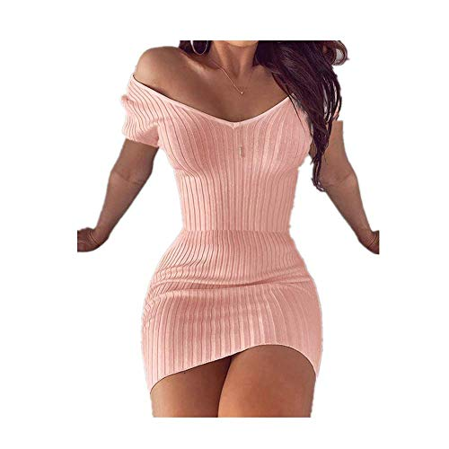 N\P Mujeres Verano Color Sólido Lápiz Vestido Patchwork Diseño V-Cuello Manga Corta Cintura Alta Slim Caderas Mini Vestido