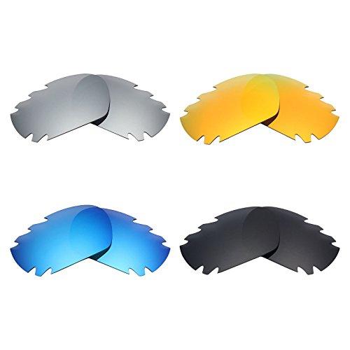 MRY 4Paar Polarisierte Ersatz Gläser für Oakley Jawbone Vented sunglasses-stealth schwarz/fire rot/ice blau/silber titan