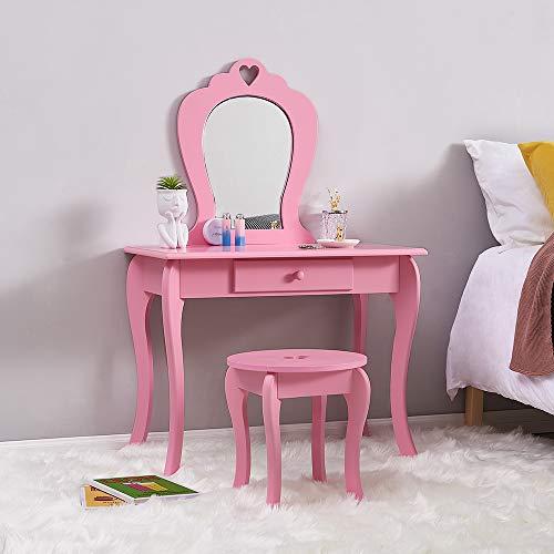 Princess Wooden Vanity Set with Stool & Mirror - Kids Bedroom Furniture/Dressing Tables(Pink)