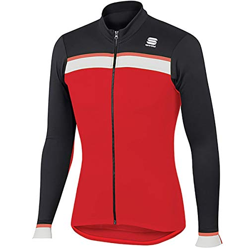 Sportful Jersey thermique Pista - Rouge/noir/blanc/rouge fluo.
