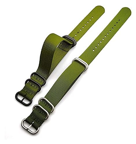 Lzpzz Strap de la OTAN 18mm 20 mm 22 mm 24 mm Weave Weave Weave Wamband Flowen Anillo Hebilla Banda de muñeca Correa Pulsera Accesorios (Color : Green, Size : 18mm)