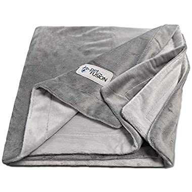 PetFusion Premium X-Large Dog Blanket (60x48). Reversible Gray Micro Plush. [100% soft polyester]