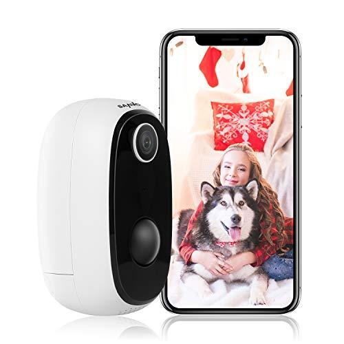 SANNCE Akku Überwachungskamera WLAN Outdoor,Kabellose WiFi IP Kamera 1080P HD mit IP65 Wasserdicht,PIR-Bewegungserkennung,2-Wege-Audio,SD-Kartenslot