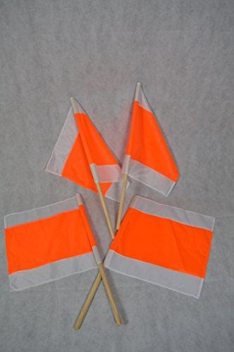 4 STÜCK WARNFAHNE FLAGGE WARNFLAGGE WINTERFAHNE FAHNE ORANGE/WEISS 500x500MM MIT STIEL
