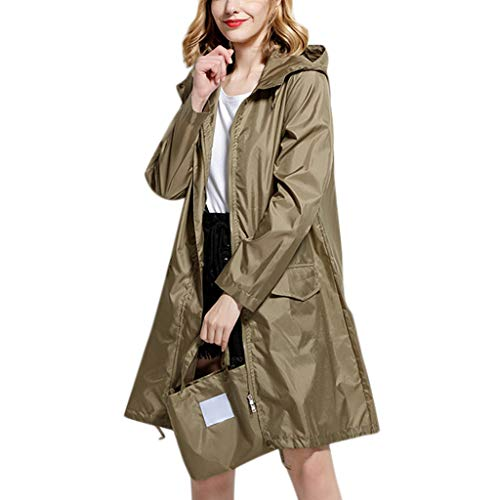 IZHH Mode Damen Regenjacke, Kapuze Einfarbig Mantel Feste Taschen Winddicht Freien Outwear wasserdichte Splice Windjacke Regenbekleidung(Grün,X-Large)