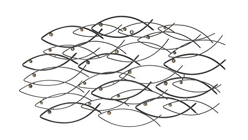 Bellaa 22014 Metal Wall Art School of Fish Beautiful Unique Nautical 40 inch (large, Black 22014)
