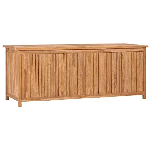 vidaXL Teak Massiv Gartenbox Aufbewahrungsbox Auflagenbox Kissenbox Gartentruhe Auflagentruhe Truhe Holztruhe Truhenbank Bank 150x50x58cm