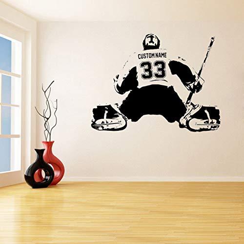 YSQLLA Eishockey Goalie Benutzerdefinierte Große Spieler Wählen Jersey Name Und Zahlen Wandaufkleber Für Vinyl Aufkleber Wohnzimmer Kinder Bedroom70X90Cm