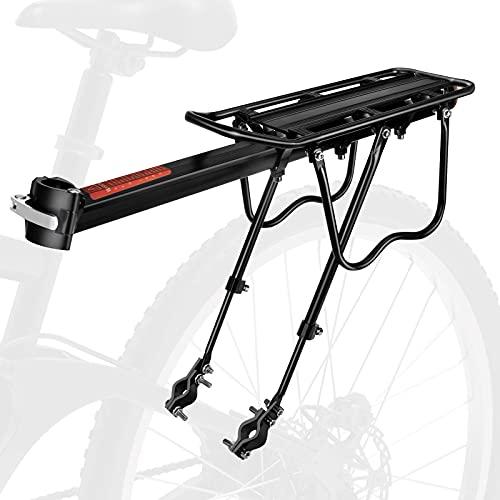 TBCWRH Portapacchi Bici, Portapacchi Posteriore Regolabile in Lega di Alluminio Portabiciclette con Riflettore Corda Elastica per Bici MTB da Strada da Montagna capacità 110 Libbre