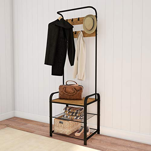 Lavish Home Entryway Coat Rack-Metal Hall Tree-Storage Bench, 9 Hooks, 2 Shelves for Shoes & Hanging Rod-Rustic Farmhouse Design Mudroom Organizer, 73', Brown