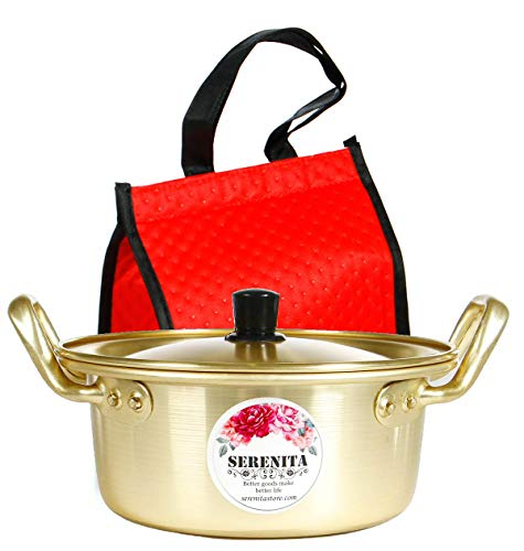 Ramen pot, fast noodle cooker, 3 minute boiler for soup pasta egg, easy light cookware with lid (15.9cm) with Insulated Carry Bag
