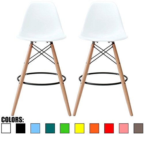 2xhome - Set of Two (2) - White - 28 Seat Height Stool Style DSW Molded Plastic Bar Stool Modern Barstool Counter Stools with Backs and armless Natural Legs Wood Eiffel Legs
