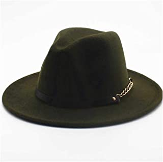 Fashion Sun Hat for Fedora Hat Wool Felt Leather Rope Metal Chain Panama Hat Retro Sombrero for Men Women Suitable for hot Weather Season (Color : Green, Size : 56-58CM)
