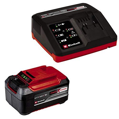 Original Einhell 18V 5,2 Ah PXC Starter Kit (Akku & Fastcharger, 18 V, max. 1260 W, universell für alle Power X-Change-Geräte, prozessgesteuertes Batteriemanagementsystem ABS, 3-stufige LED-Anzeige)