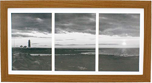 8x16 Collage Natural Picture Frame with Three 5x7 Inch Openings - Wide Molding - Includes Both Attached Hanging Hardware and Desktop Easel - Display Three 5 x 7 Photos Horizontal or Vertical
