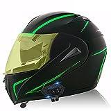 Bluetooth Integrado Casco Moto Modular con Doble Visera Cascos de Motocicleta ECE Homologado para Adultos Hombres Mujeres - Potenciador subnoche D,XL