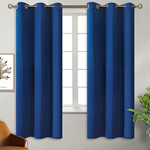 BGment Blackout Curtains - Grommet Thermal Insulated Room Darkening Bedroom and Living Room Curtain, Set of 2 Panels (42 x 63 Inch, Classic Blue)