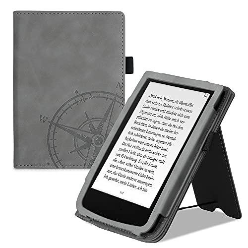 kwmobile Funda Compatible con Pocketbook Touch Lux 4/Lux 5/Touch HD 3/Color (2020) - Agarre elástico y Soporte de Apoyo - Aguja magnética Gris