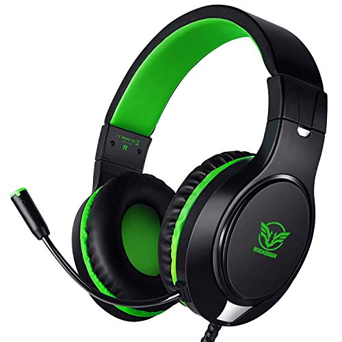 Gaming Headset for PS4, PC, Xbox One Controller, Windows PC, Noise Cancelling Over Ear Headphones with Mic, Bass Surround, Soft Memory Earmuffs for Laptop Mac Nintendo Switch Games (Green)