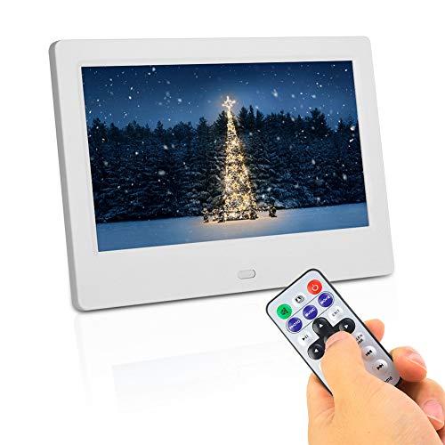 Digitaler 7-Zoll-Breitbild-Fotorahmen, digitaler 800 * 480 (16: 9) -HD-Bilderrahmen, intelligentes elektronisches Multifunktions-Fotoalbum, elektronische Uhr/Kalender/U-Disk Fernbedienung(Weiß-EU)