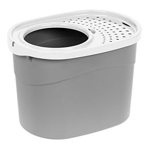 IRIS USA Top Entry Cat Litter Box, Gray/White 589624